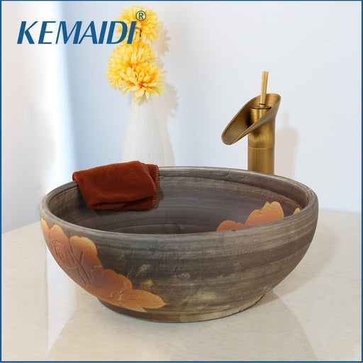 Kemaidi Art Ceramic Vessel Bathroom Sink Set Waterfall Antique Brass Bathroom Faucet White Design-Bathroom Sinks-KEMAIDI Official Store-Only Faucet-EpicWorldStore.com