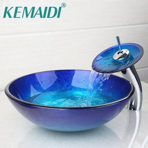 Kemaidi Au Bathroom Round Bule Tempered Glass Oval Wash Basin W/Orb Brushed Faucet Sink Combo Set-Bathroom Sinks-YANKSMART SMRTE Store-EpicWorldStore.com