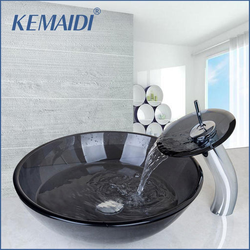 Kemaidi Bathroom Black Clear Tempered Glass Vessel Sink Bowl Faucet Combo W/ Pop Up Drain Artistic-Bathroom Sinks-KEMAIDI Official Store-EpicWorldStore.com