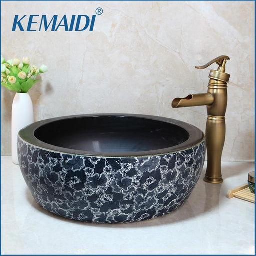 Kemaidi Bathroom Ceramic Round Sink Antique Brass Deck Mounted Tap Mixer Faucet With Drain Wash-Bathroom Sinks-KEMAIDI Official Store-Basin sets 01-EpicWorldStore.com