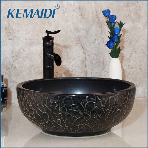 Kemaidi Bathroom Sink Washbasin Ceramic Lavatory Bath Brass Set Faucet Mixer Black Orb Tap Bamboo-Bathroom Sinks-KEMAIDI Official Store-Basin Faucet sets 01-EpicWorldStore.com