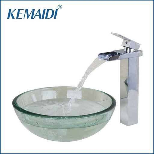 Kemaidi Contemporary Transparent Tempered Glass Round Wash Basin Vessel Sink With Chrome Bathroom-Bathroom Sinks-KEMAIDI Official Store-EpicWorldStore.com