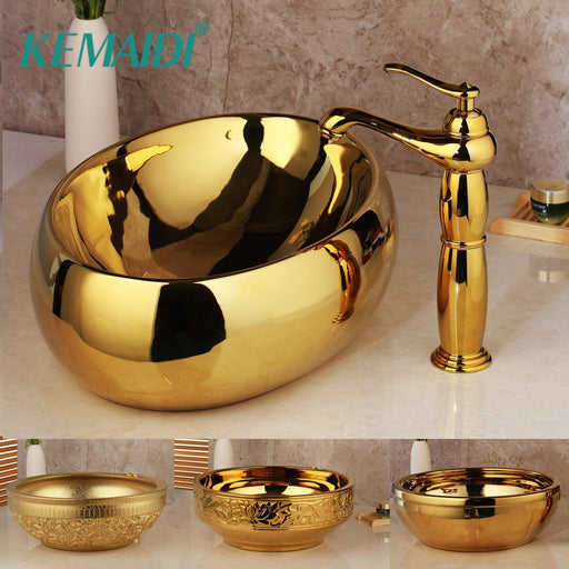 Kemaidi Golden Luxury Ceramic Lavatory Bathroom Tap Washbasin Basin Sink Set Bath Combine Solid-Bathroom Sinks-YANKSMART SMRTE Store-Basin Set 01-EpicWorldStore.com