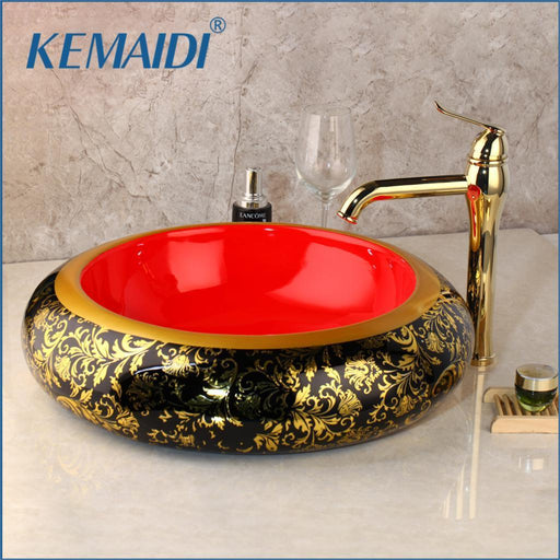 Kemaidi Luxury Painted Glaze Basin Set Golden Bathroom Faucet Counter Top Basin Sink Single Hand-Bathroom Sinks-KEMAIDI Official Store-Only Faucet-EpicWorldStore.com