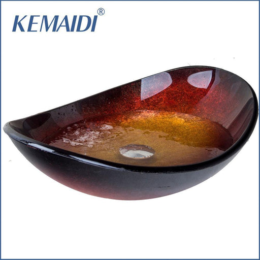 Kemaidi New Bathroom Oval Tempered Glass Basin Vessel Vanity Sink Bowl With Pop Up Drain Bathroom-Bathroom Sinks-KEMAIDI Official Store-EpicWorldStore.com