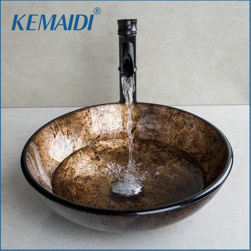 Kemaidi New Soild Brass Oil Bamboo Black Faucet +Ross Brand 2015 Washbasin Lavatory Glass Sink Bath-Bathroom Sinks-KEMAIDI Official Store-EpicWorldStore.com