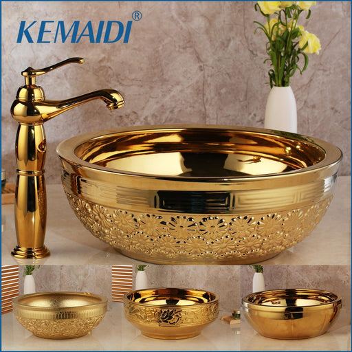 Kemaidi Solid Brass Basin Faucets Sets Golden Luxury Ceramic Lavatory Bathroom Tap Washbasin Sink-Bathroom Sinks-KEMAIDI Official Store-Basin Set 01-EpicWorldStore.com