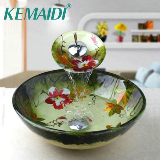 Kemaidi Tempered Glass Basin Sink Washbasin Faucet Set Counter Top Washroom Basin Vessel Vanity-Bathroom Sinks-YANKSMART SMRTE Store-EpicWorldStore.com
