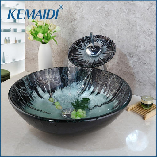 Kemaidi Tempered Glass Hand Paint Sink Washbasin Waterfall Lavatory Bath Combine Brass Set-Bathroom Sinks-KEMAIDI Official Store-EpicWorldStore.com