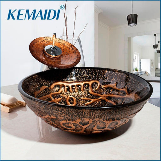 Kemaidi Wash Basin Sink Tap Bathroom Sink Glass Hand Paint Lavatory Sink Combine Set Polished Chrome-Bathroom Sinks-KEMAIDI Official Store-EpicWorldStore.com