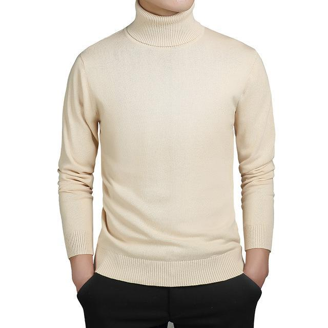 Kenntrice Turtleneck Sweaters Men Solid Long Sleeve Pullovers Men