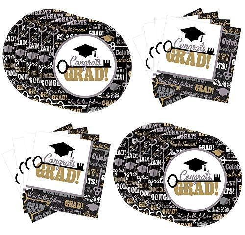 Key To Success Congrats Grad Graduation Lunch Supplies For 60 Guests, With Paper Large Plates And