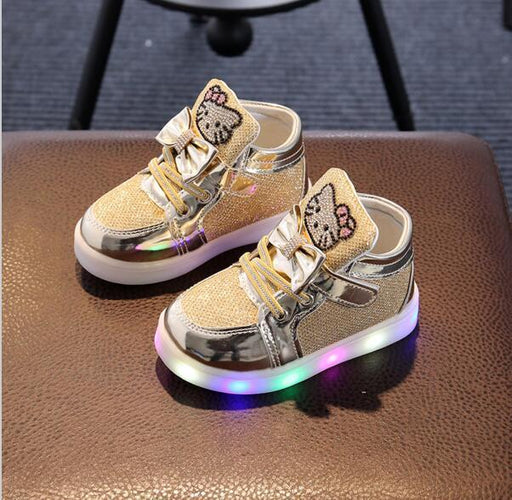 Kids Casual Lighted Shoes Girls Glowing Sneakers Children Hello Kitty Shoes With Led Light Baby Girl-Children's Shoes-Baby Shoe World Store-Black-5.5-EpicWorldStore.com