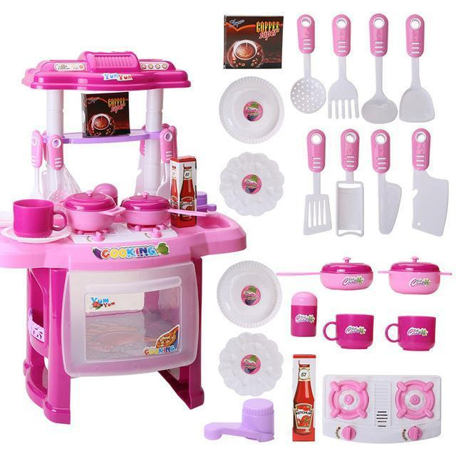 Kids Kitchen Toys Beauty Cooking Toy Play For Children Toys Pretend Play Toys With Light Sound-Pretend Play-BB Toy Store-Pink-EpicWorldStore.com