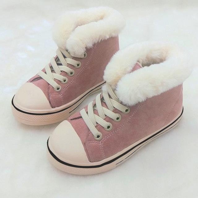 a9274104a0e83 Kids Warm Canvas Shoes Fashion Casual Children Velvet Snow Boots For Girls  Boys Students Soft