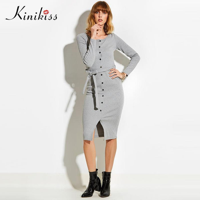 Kinikiss Spring Women Stylish Club Gray Women Sweater Dress Slim Bodycon Knitted Sweater Button-Dresses-Kinikiss Official Store-black-S-EpicWorldStore.com