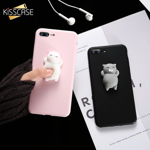 Kisscase Cat Case For Iphone 5S 5 Se 7 7 Plus 6 6S Plus Case Cute Silicon Cartoon Cat Cases For-Phone Bags & Cases-KISSCASE Official Store-Cat 1 Black-For iPhone 6 6s-EpicWorldStore.com
