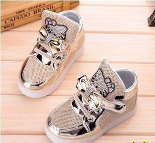 Kkabbyii Children Shoes New Spring Hello Kitty Rhinestone Led Shoes Girls Princess Cute Shoes With-Children's Shoes-Chengxin Store-Gold-5.5-EpicWorldStore.com