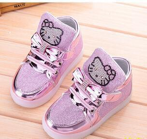 Kkabbyii Children Shoes New Spring Hello Kitty Rhinestone Led Shoes Girls Princess Cute Shoes With-Children's Shoes-Chengxin Store-Pink-5.5-EpicWorldStore.com