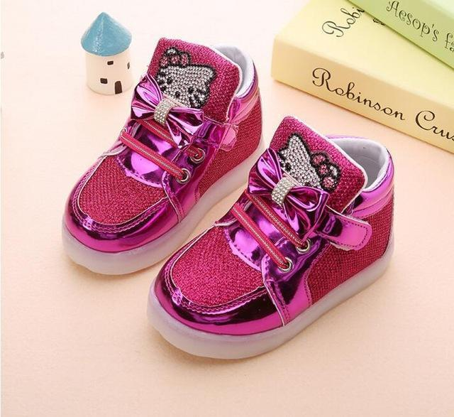 Kkabbyii Children Shoes New Spring Hello Kitty Rhinestone Led Shoes Girls Princess Cute Shoes With-Children's Shoes-Chengxin Store-rose red-5.5-EpicWorldStore.com
