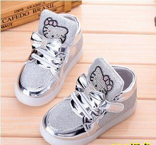 Kkabbyii Children Shoes New Spring Hello Kitty Rhinestone Led Shoes Girls Princess Cute Shoes With-Children's Shoes-Chengxin Store-Silver-5.5-EpicWorldStore.com