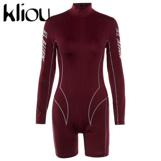 Kliou New Women Turtleneck Full Sleeve Fitness Playsuit White Striped Patchwork Letter Print-Rompers-kliou Official Store-Burgundy-S-EpicWorldStore.com