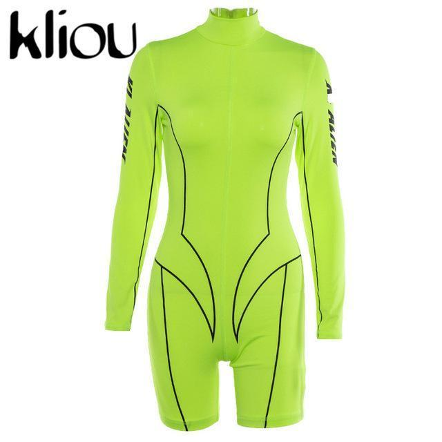 Kliou New Women Turtleneck Full Sleeve Fitness Playsuit White Striped Patchwork Letter Print-Rompers-kliou Official Store-Green-S-EpicWorldStore.com