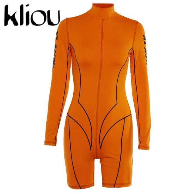 Kliou New Women Turtleneck Full Sleeve Fitness Playsuit White Striped Patchwork Letter Print-Rompers-kliou Official Store-Orange-S-EpicWorldStore.com