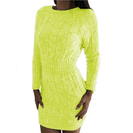Knitted Sweater Dress Women Fluorescence Tunic Warm Autumn Winter Long Sleeve Sexy Bodycon Mini-Home-SEMEAAOGR Store-gray-S-EpicWorldStore.com