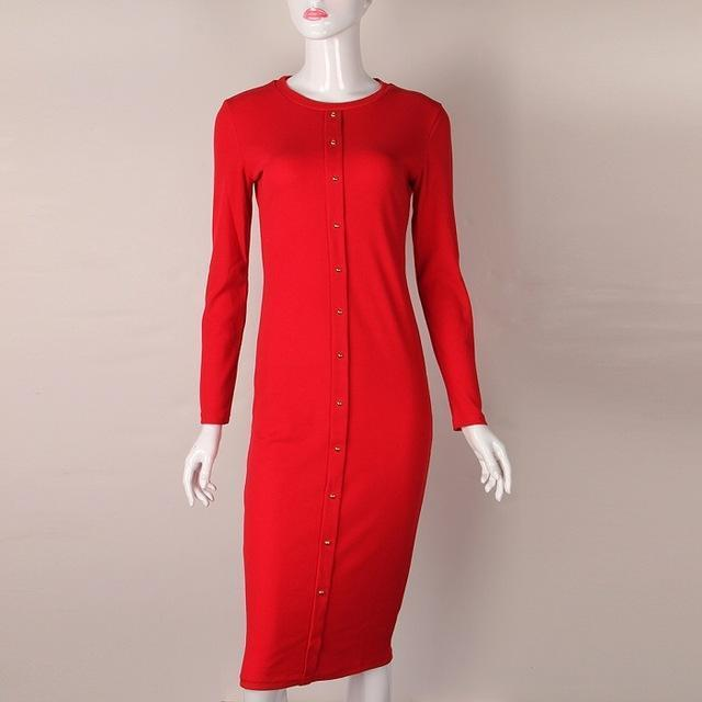 Knitting Vestido Midi Dress Warm Women Knitted Mid-Calf O-Neck Dresses Package Hip Sheath-Dresses-iFashion (Hong Kong) Limited-Red-S-EpicWorldStore.com