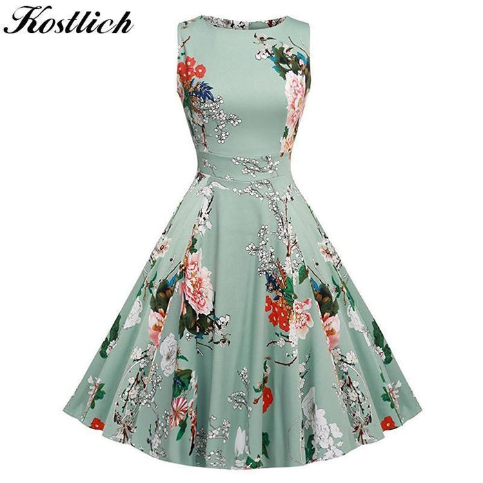 Kostlich Floral Print Summer Dress Women Sleeveless Tunic 50S Vintage Dress Belt Elegant-Dresses-Kostlich Women's Apparel Store-975 Green-S-EpicWorldStore.com