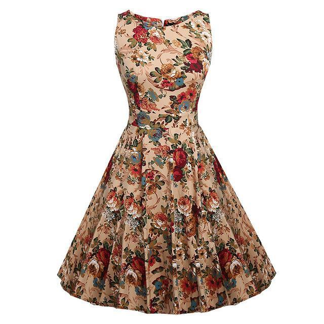Kostlich Floral Print Summer Dress Women Sleeveless Tunic 50S Vintage Dress Belt Elegant-Dresses-Kostlich Women's Apparel Store-976 Apricot-S-EpicWorldStore.com
