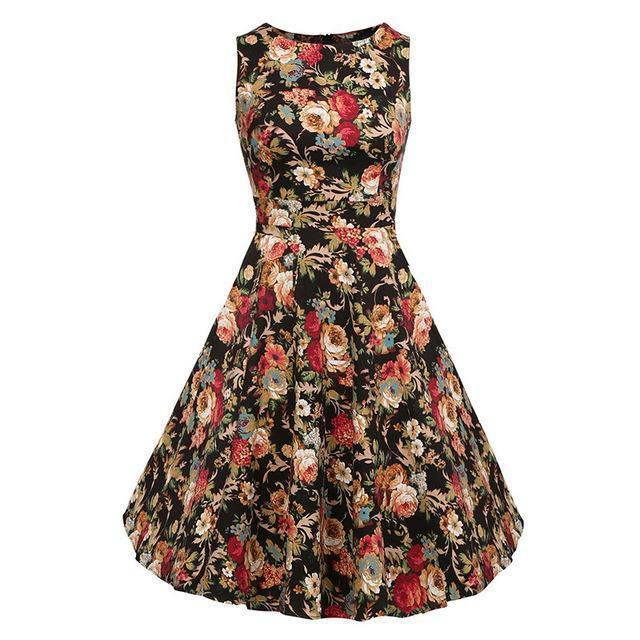 Kostlich Floral Print Summer Dress Women Sleeveless Tunic 50S Vintage Dress Belt Elegant-Dresses-Kostlich Women's Apparel Store-976 Black-S-EpicWorldStore.com