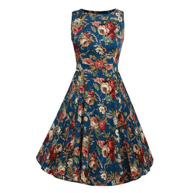 Kostlich Floral Print Summer Dress Women Sleeveless Tunic 50S Vintage Dress Belt Elegant-Dresses-Kostlich Women's Apparel Store-976 Blue-S-EpicWorldStore.com