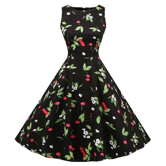 Kostlich Floral Print Summer Dress Women Sleeveless Tunic 50S Vintage Dress Belt Elegant-Dresses-Kostlich Women's Apparel Store-977 Black-S-EpicWorldStore.com