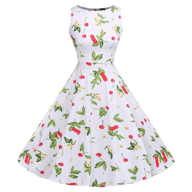 Kostlich Floral Print Summer Dress Women Sleeveless Tunic 50S Vintage Dress Belt Elegant-Dresses-Kostlich Women's Apparel Store-977 White-S-EpicWorldStore.com