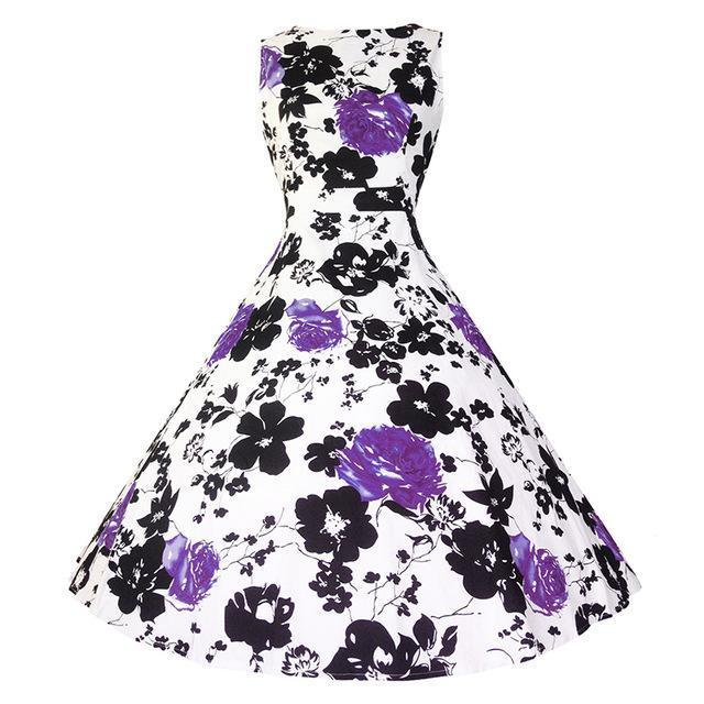 Kostlich Floral Print Summer Dress Women Sleeveless Tunic 50S Vintage Dress Belt Elegant-Dresses-Kostlich Women's Apparel Store-978 Purple-S-EpicWorldStore.com
