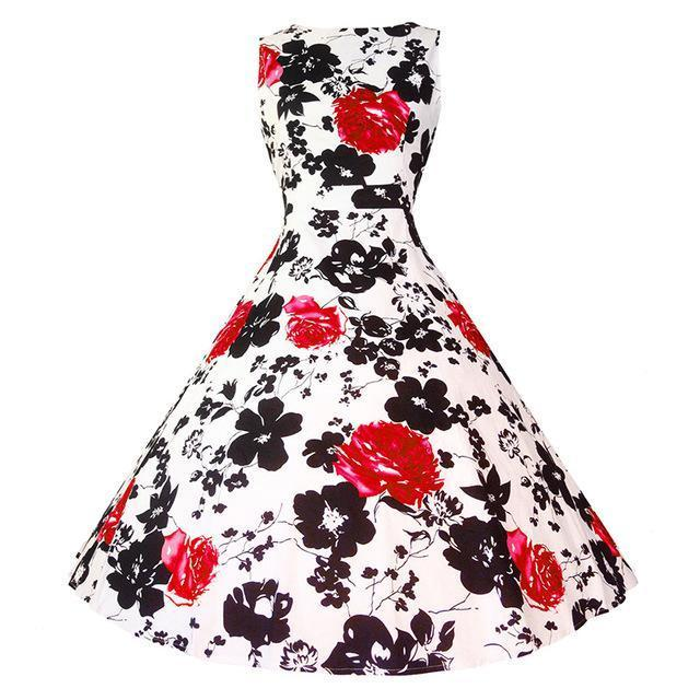 Kostlich Floral Print Summer Dress Women Sleeveless Tunic 50S Vintage Dress Belt Elegant-Dresses-Kostlich Women's Apparel Store-978 Red-S-EpicWorldStore.com
