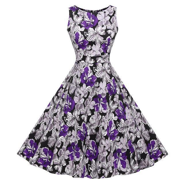 Kostlich Floral Print Summer Dress Women Sleeveless Tunic 50S Vintage Dress Belt Elegant-Dresses-Kostlich Women's Apparel Store-979 Purple-S-EpicWorldStore.com