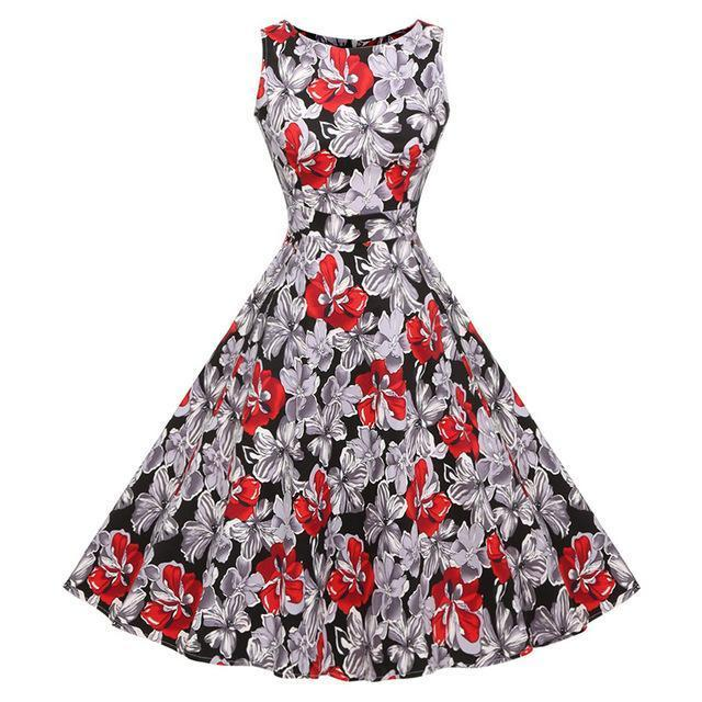 Kostlich Floral Print Summer Dress Women Sleeveless Tunic 50S Vintage Dress Belt Elegant-Dresses-Kostlich Women's Apparel Store-979 Red-S-EpicWorldStore.com