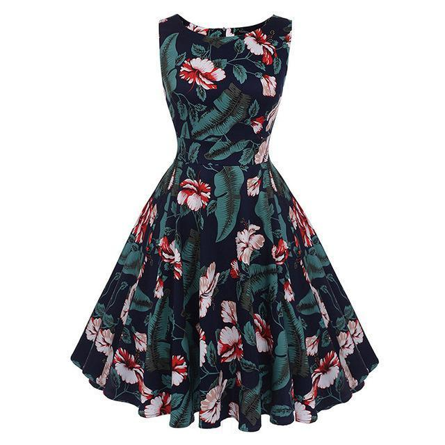 Kostlich Floral Print Summer Dress Women Sleeveless Tunic 50S Vintage Dress Belt Elegant-Dresses-Kostlich Women's Apparel Store-980 Green-S-EpicWorldStore.com