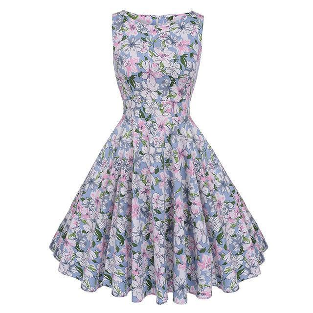 Kostlich Floral Print Summer Dress Women Sleeveless Tunic 50S Vintage Dress Belt Elegant-Dresses-Kostlich Women's Apparel Store-981 Flower-S-EpicWorldStore.com