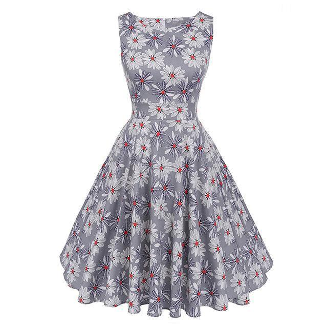 Kostlich Floral Print Summer Dress Women Sleeveless Tunic 50S Vintage Dress Belt Elegant-Dresses-Kostlich Women's Apparel Store-982 Gray-S-EpicWorldStore.com