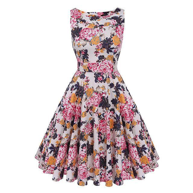 Kostlich Floral Print Summer Dress Women Sleeveless Tunic 50S Vintage Dress Belt Elegant-Dresses-Kostlich Women's Apparel Store-983 Peony-S-EpicWorldStore.com