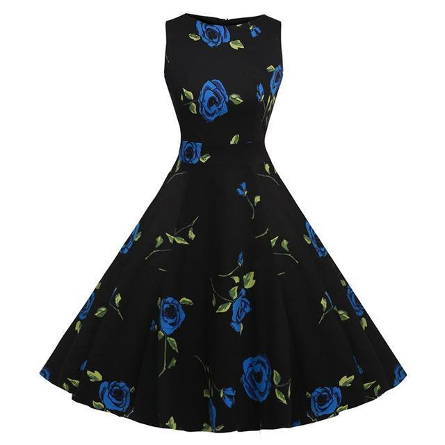 Kostlich Floral Print Summer Dress Women Sleeveless Tunic 50S Vintage Dress Belt Elegant-Dresses-Kostlich Women's Apparel Store-984 Blue-S-EpicWorldStore.com