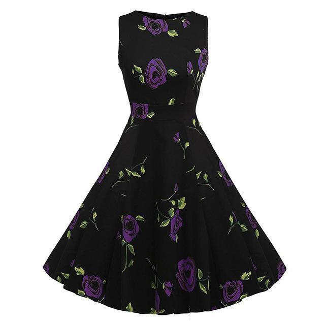 Kostlich Floral Print Summer Dress Women Sleeveless Tunic 50S Vintage Dress Belt Elegant-Dresses-Kostlich Women's Apparel Store-984 Purple-S-EpicWorldStore.com