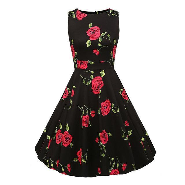 Kostlich Floral Print Summer Dress Women Sleeveless Tunic 50S Vintage Dress Belt Elegant-Dresses-Kostlich Women's Apparel Store-984 Red-S-EpicWorldStore.com
