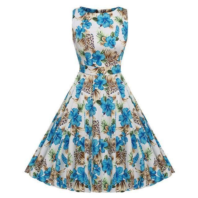 Kostlich Floral Print Summer Dress Women Sleeveless Tunic 50S Vintage Dress Belt Elegant-Dresses-Kostlich Women's Apparel Store-985 Blue-S-EpicWorldStore.com