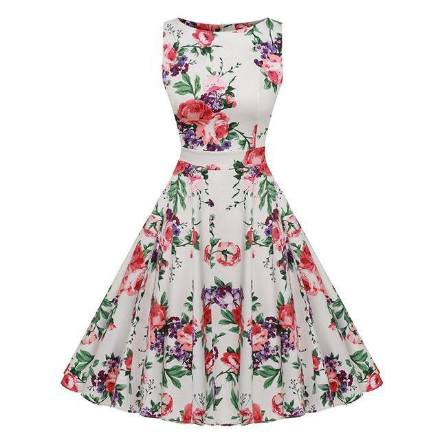 Kostlich Floral Print Summer Dress Women Sleeveless Tunic 50S Vintage Dress Belt Elegant-Dresses-Kostlich Women's Apparel Store-985 Red-S-EpicWorldStore.com