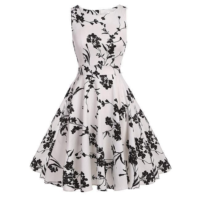Kostlich Floral Print Summer Dress Women Sleeveless Tunic 50S Vintage Dress Belt Elegant-Dresses-Kostlich Women's Apparel Store-995 white-S-EpicWorldStore.com